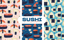 Sushi Seamless Pattern. Japanese Food. Vector Illustration. Funny Colored Typography Poster, Apparel Print Design. Scandinavian Nordic Design For Bar Or Interior Or Cover Or Textile Or Background.