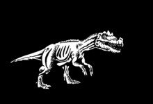 Graphical 3D Illustration Of Tyrannosaurus On Black Background, Vector Engraved Ink Pen Illustration