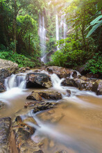 Mork Fa Waterfall, Double Waterfal In Deep Forest Chiang Mai, Thailand