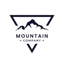 Mountain Landscape With Focus Square Lens Frame For Adventure Outdoor Nature Photography Photographer Logo Design