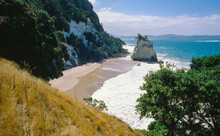 Aerial View Of Cathedral Cove And Te Hoho Rock