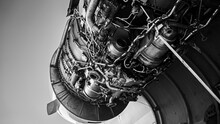 One Of The Engines Of A Commercial Plane Under Repair