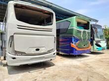 Bogor, Indonesia - August 20, 2021: Old Bus Under Repair