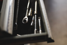 Close Up Of Wrenches And Tools In A Box