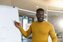 Smiling African American Male Business Creative Using Whiteboard, Making Presentation