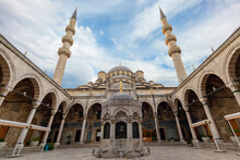 Courtyard Of The New Mosque Known Also As Yeni Cami In Istanbul, Turkey