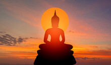 Buddha Silhouette On Golden Sunset Background Beliefs Of Buddhism