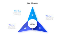 Abstract Star Element Is Divided Into 3 Parts With A Circle In The Center. Business Data Visualization For Presentation. Vector Info Graphic Diagram