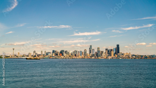 View of Seattle Downtown Skyline with Clear Blue Skies