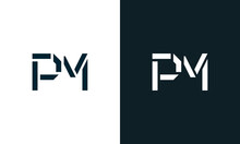 Creative Minimal Abstract Letter PM Logo.