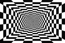 Abstract Black And White Checkered Background. Geometric Pattern With Visual Distortion Effect. Checkered Wave Black White Background For Sport Race Championship And Business Finish Success.