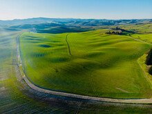 Aerial Panorama Of The Area Of Montalcino Italy In Summer