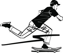 The Vector Sketch Of The Player On A Skateboard