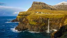 Múlafossur Waterfall Landscape In Autumn, Gasadalur, Faroe Islands