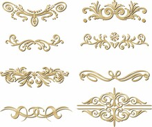 Vector Set Of Gold Monograms, Heraldic Ornaments. Designer Text Dividers. Patterns From Lines. Letter Border