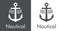 Logotipo Con Texto Nautical Y Silueta De Ancla De Barco Con Olas En Fondo Gris Y Fondo Blanco