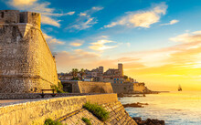 View Of The City Of Antibes In The Sunset Light, Provence, Cote D'Azur, A Popular Travel Destination In Europe