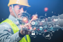 Engineer Or Businessman Use Your Smartphone To Exchange Industrial Systems, Technology, Industry Cloud Technology Concepts.
