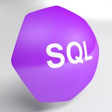 SQL Purple Octagonal Icon Isolated On White Background - 3D Rendering Illustration