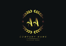 Letters AA Monogram Logo, Gold Color, Luxury Style, Vector Illustration