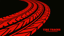 Red Tire Print Mark Texture Background