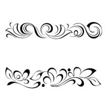 Decorative Oblong Design With Floral Elements And Vignettes. Graphic Decor