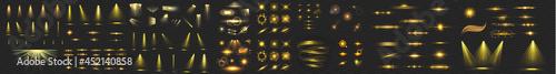Fotografia transparent golden light flare and sparkles mega set, Set of flashes, lights and sparks