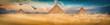 Leinwandbild Motiv Three pyramids in the desert