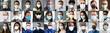 Leinwandbild Motiv Diverse People Group Wearing Face Mask
