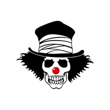 Scary Clown Skull Skeleton Head Horror Logo Design Vector Illustration