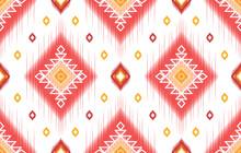 Ikat Indian Ethnic Pattern. Aztec Fabric Carpet Mandala Ornament Boho Chevron Textile Decoration Wallpaper. Tribal Oriental Traditional Embroidery Vector Illustrations Background.