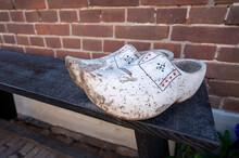 Old Vontage Dutch Wooden Clogs, Footwear