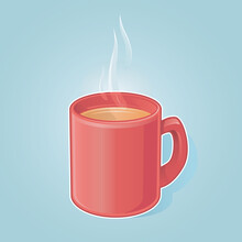 A Red Mug Of Comforting, Steaming Hot Tea, Coffee Or Hot Chocolate