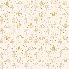 A Pattern With Egyptian Elements And Icons. Mythological Motifs Of Ancient Egypt With Gods In The Doodle Style. Vector Substrate For Textiles With Egyptian Motifs. Vector Illustration