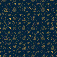 Background With Egyptian Elements And Symbols Of Ancient Gods. Historical Egypt With Ancient Artifacts And Gods. Vector Background For Textiles With Egyptian Symbols Of Antiquity. Vector Illustration