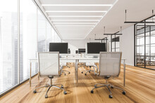 Open Space Office Interior With Combination Office Desks, White