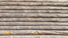 Wall Texture Of An Old Wooden Log House, Background.