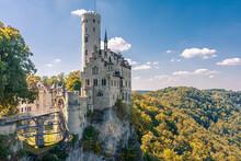 Lichtenstein Castle (Schloss Lichtenstein), A Palace Built In Gothic Revival Style Overlooking The Echaz Valley Near Honau, Reutlinge, In The Swabian Jura Of Southern Germany