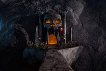 Halloween 3D Rendering Of A Fantasy Bridge To A Cave In A Mountain With A Skull Shaped Entrance.