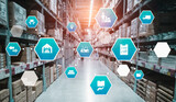 Fototapeta Kawa jest smaczna - Smart warehouse management system with innovative internet of things technology to identify package picking and delivery . Future concept of supply chain and logistic network business .