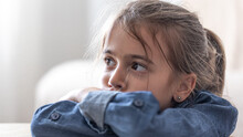 Portrait Of A Cute Little Girl, Primary School Girl.