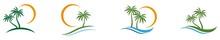 Palm Tree Logos. Set Of Palm Trees Icons.