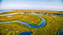 Aerial Shot Of Marsh Land And Grass Around The Mullica River Near Atlantic City In The Pine Barrens, New Jersey, USA