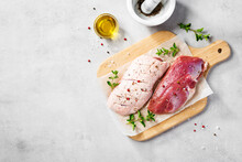 Preparation For Cooking Raw Duck Breast With Ingredients. Light Gray Background, Top View. Space For Text