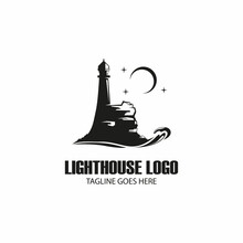 Silhouette Night Lighthouse On Coral With Stars And Moon Template Logo Design
