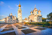 Resurrection Cathedral, Bell Tower And St. Sophia Cathedral In The Kremlin In The City Of Vologda