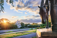 Church Of St. John Chrysostom And A Sculpture Of A Horse In The Kremlin In The City Of Vologda