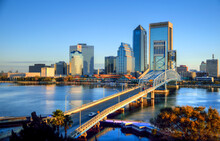 Downtown Jacksonville Skyline Viewed Over St. Johns River. The City Is The Largest In The State By Population.