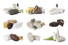 Set With Pumice Stones And Cosmetic Products On White Background