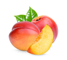 Nectarine With Leaves Isolated On White Background